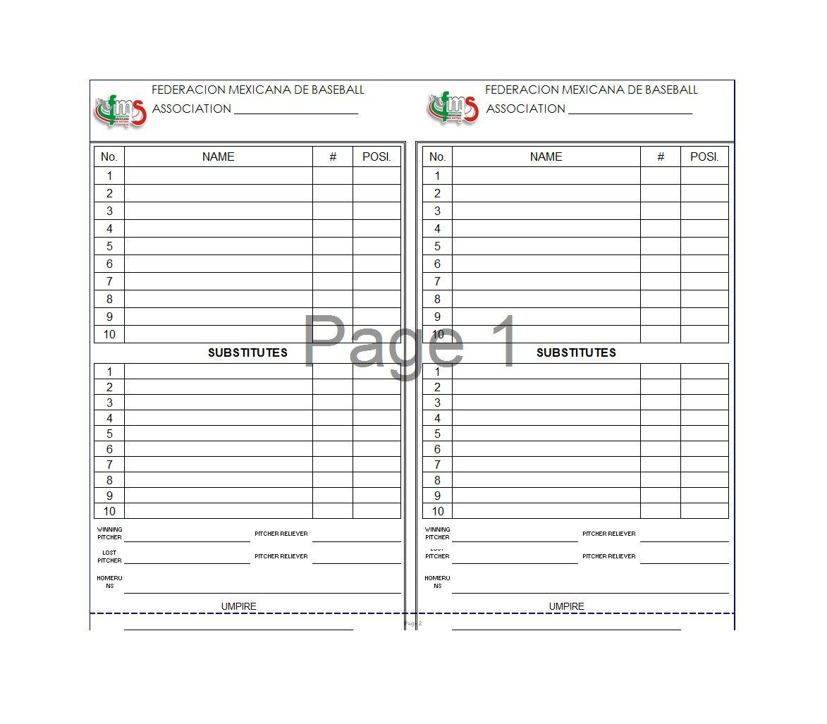 Custom Recreational Baseball League Lineup Cards 4 Part Lineup Cards With Baseball League Logo And Name Baseball Lineup Baseball Card Template Baseball Lines