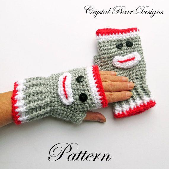 CROCHET PATTERN Sock Monkey Fingerless Gloves Texting Mitts Arm ...