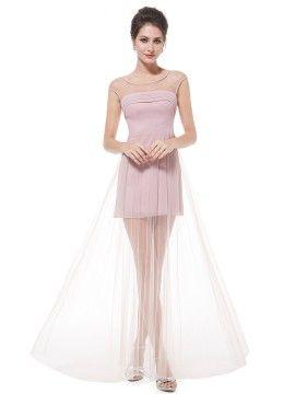b24d69f91c97b Shop Light Pink Semi-sheer Panel Empire Waist Pleated Maxi Dress ...