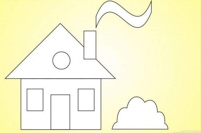 картинка раскраска домик из геометрических фигур отлично гармонирует хвойной