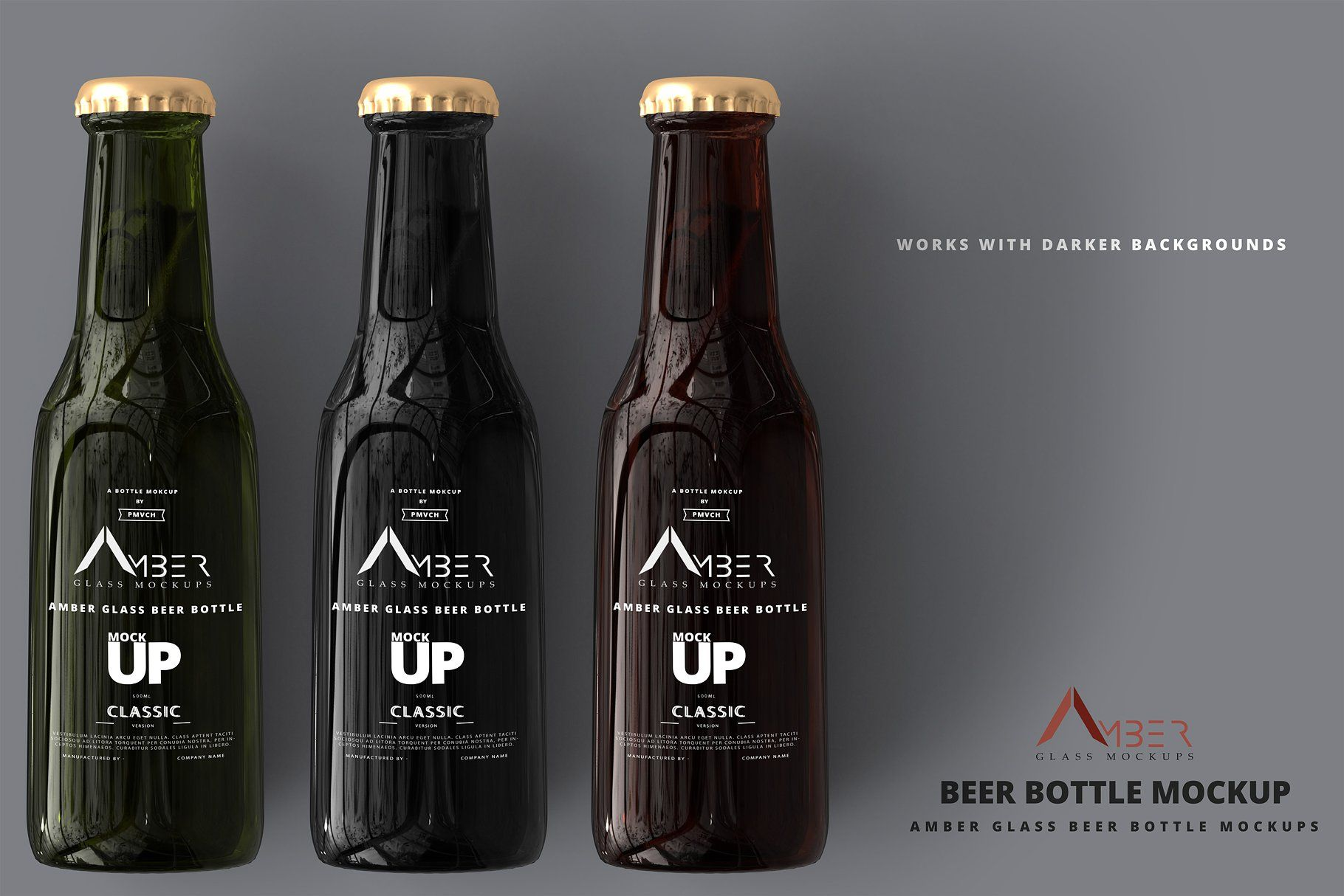 Amber Glass Bottle Mockup Bundle by pmvch on @creativemarket