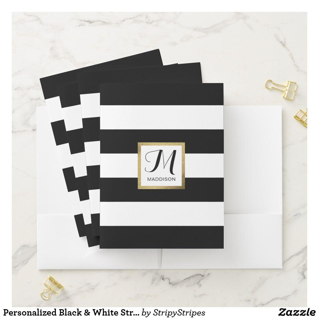 Personalized Black & White Striped Gold Monogram Pocket