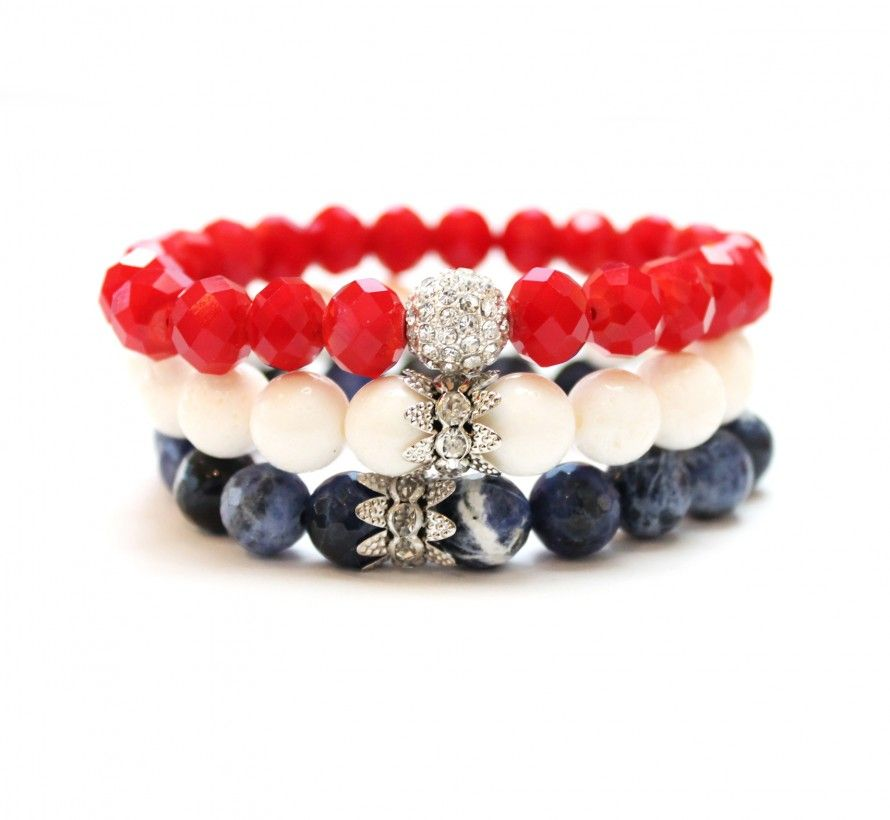 Special of the Month! A beautiful three-bracelet stack celebrating the 4th of July. The stack includes a red crystal, white coral and blue sodalite bracelet each with a rhinestone center bead. Sign-up here for Sisco + Berluti emails and receive a special 25% discount!