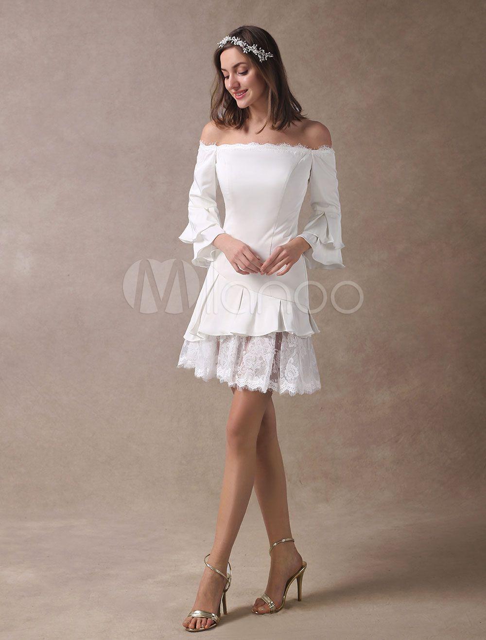 Kurze Brautkleider Boho aus der Schulter Brautkleid Mini Langarm ...