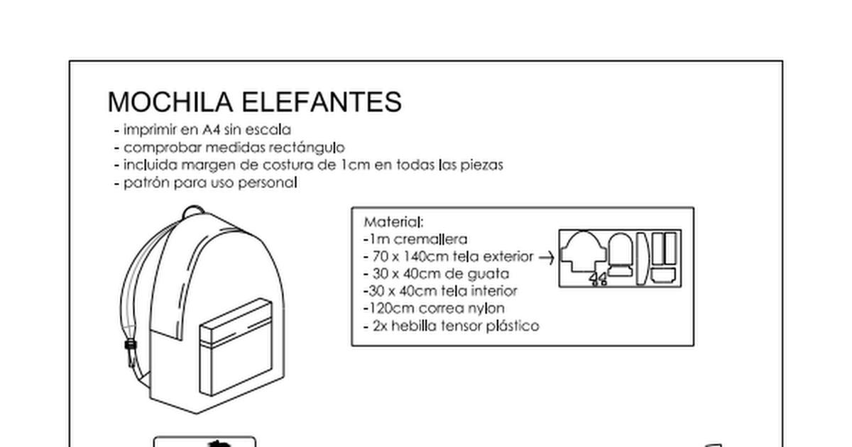 mochila elefantesnaii.pdf | Patrones | Pinterest | Costura, Mochilas ...