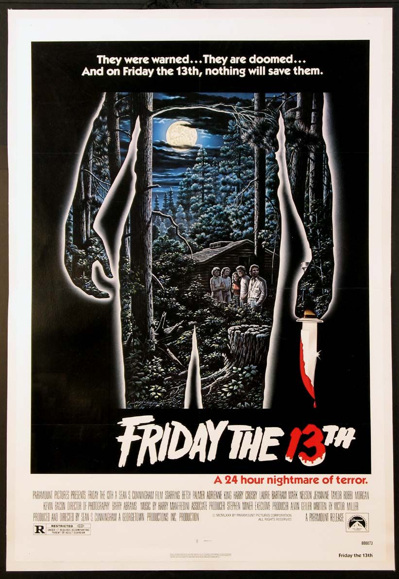Friday The 13th Original One Sheet Size 27x41 Movie Poster Classic Horror Movies Friday The 13th Poster Horror Movie Posters