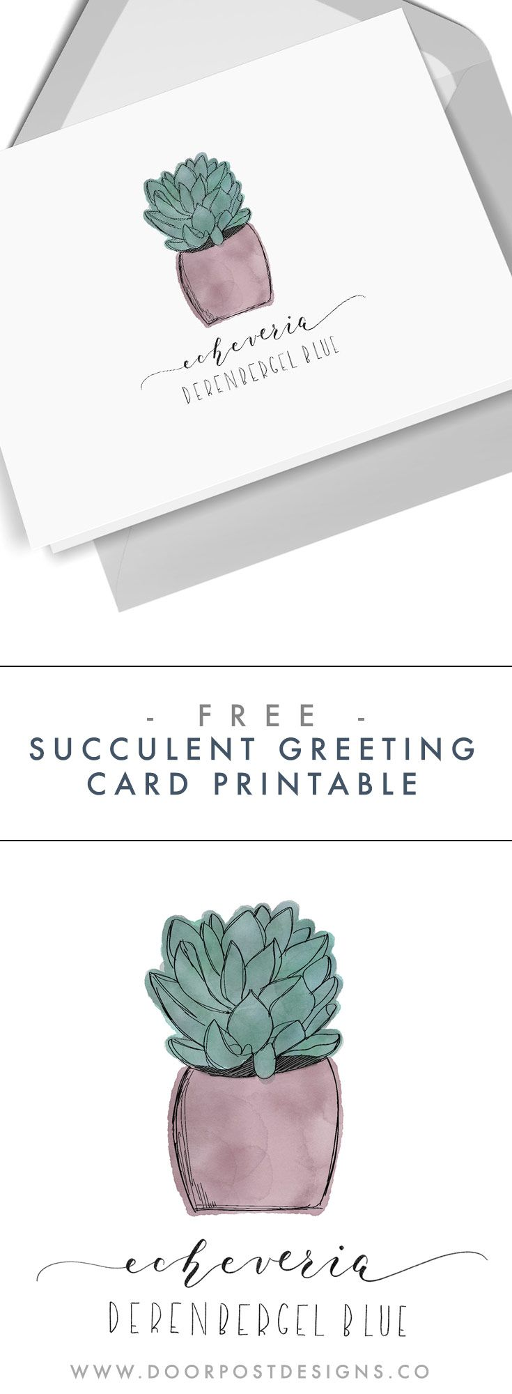 Freebie Printable Succulent Greeting Card Doorpost Designs Printable Greeting Cards Greeting Cards Templates Printable Free