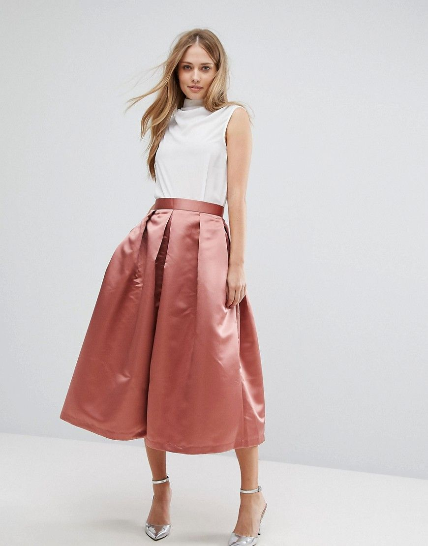 59e523b7dd Closet London Full Prom Sateen Midi Skirt - Orange | christmas in ...