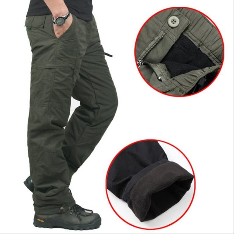 2018 Winter Warm Mens Combat Work Pants Fleece Camo Military Army Cargo