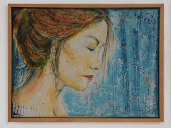 Hedendaags schilderij acryl op doek met houten lijst In