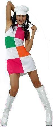 60 Mod Colour Block Grid Dancer Costume