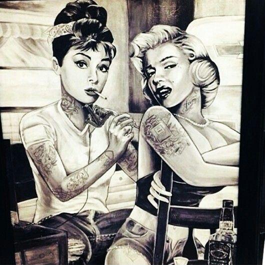 Poster Audrey Hepburn Marilyn Monroe Inked by JDH Tattoos