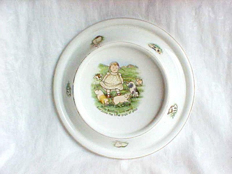 Vintage Ceramic Royal Baby Plate - Baby Bunting Nursery Rhyme Feeding Bowl - 1905 Edwardian - Adorable Graphics baby u0026 piglets - Made In USA & Vintage Ceramic Royal Baby Plate - Baby Bunting Nursery Rhyme ...