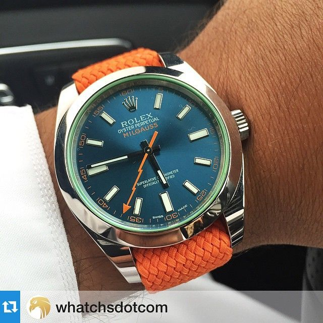 For A Change, Perlon Strap from @whatchsdotcom  #Repost @whatchsdotcom with @repostapp.・・・Thanks so much to @llvll for this picture of his Rolex Milgauss #116400 on an orange Perlon strap. Looks great!  #whatchsdotcom  Get yours from www.whatchs.com