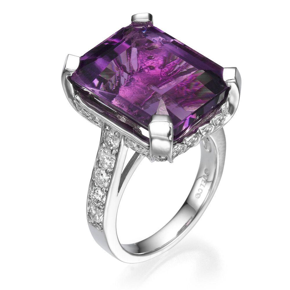 Emerald Cut Amethyst Gemstone and Diamond Fashion Cocktail Ring