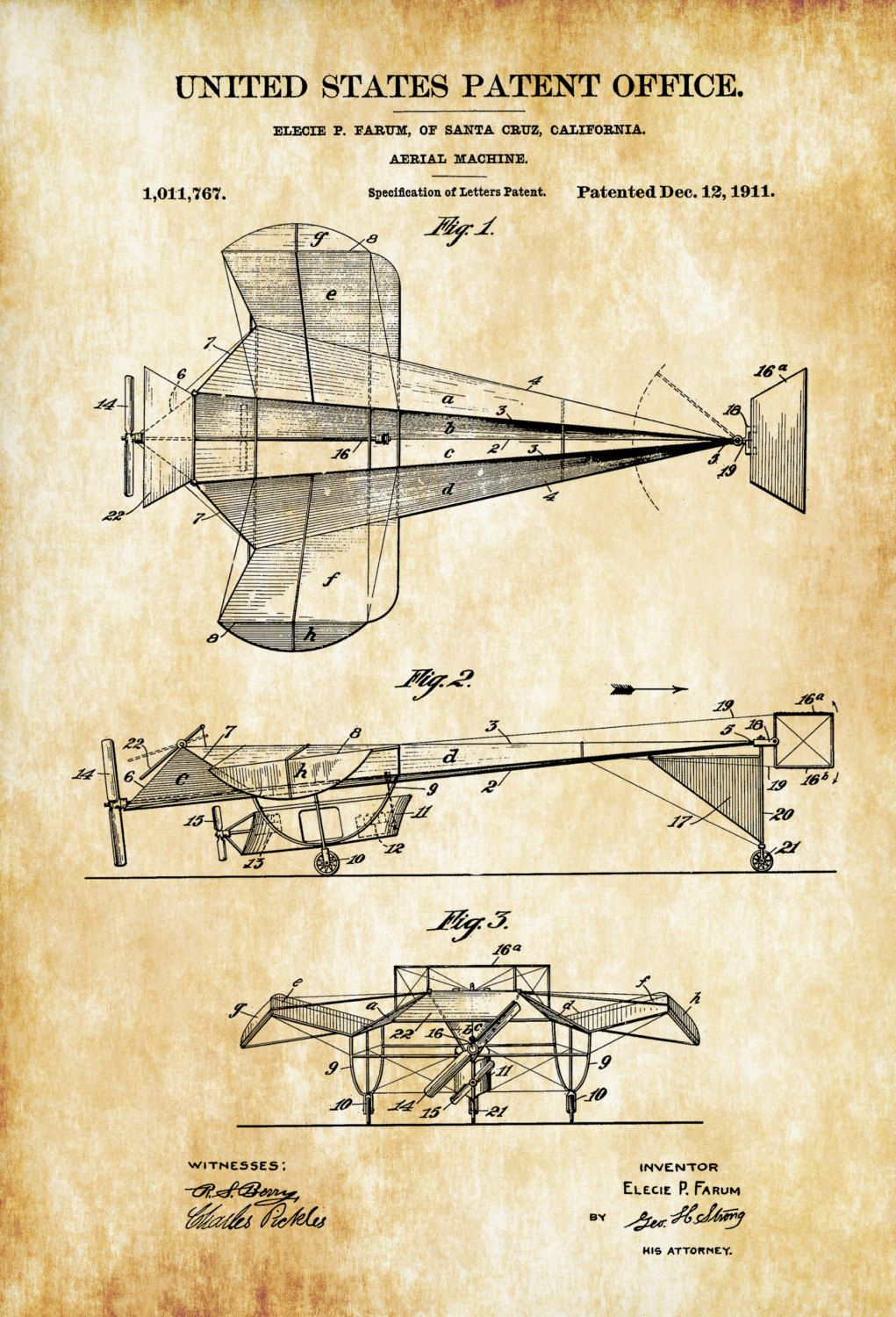 Aerial machine patent print airplane blueprint vintage aviation art aerial machine patent print airplane blueprint vintage aviation malvernweather Images