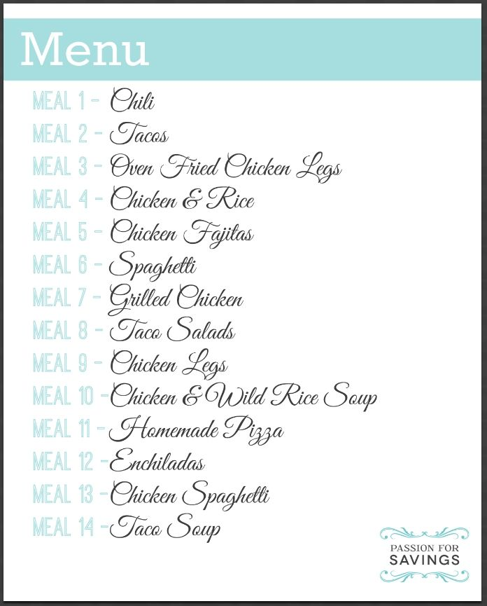 Week Meal Plan  Family Friendly Menu Shopping List  Recipes