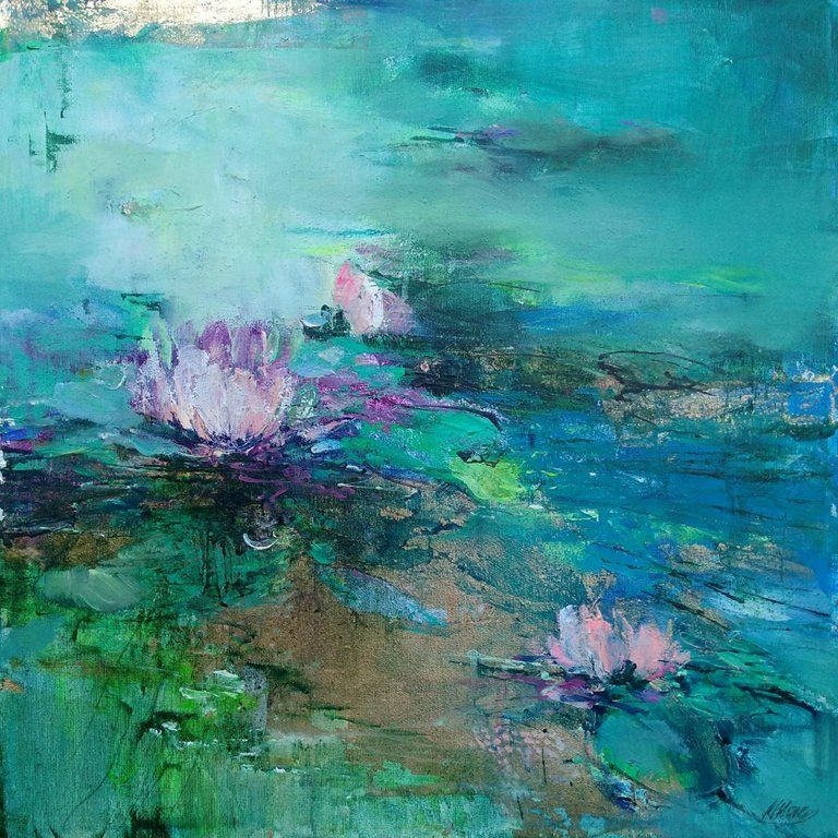 Magdalena Morey Tranquility Lilies Abstract Landscape Painting Contemporary Art 21st Centur Contemporary Abstract Art Abstract Abstract Art Painting