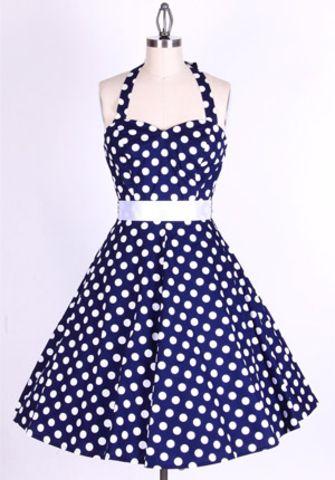 50734367ba71 50s Polka Dot BigWhiteDots Navy Blue Halterneck Swing Dress