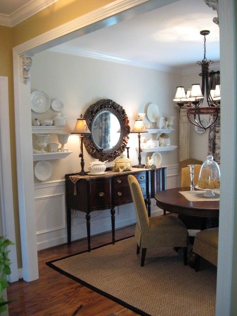 Love It All The Round Dining Room Table Slipcovered Chairs Wainscoting And Round Mirror Over An Dining Room Small Round Dining Room Small Dining Room Table