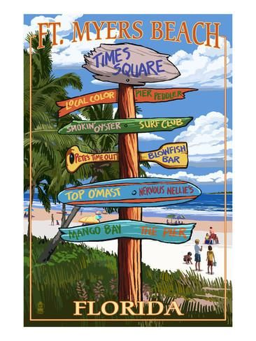Ft. Myers Beach, Florida - Destination Signs Posters by Lantern Press at AllPosters.com