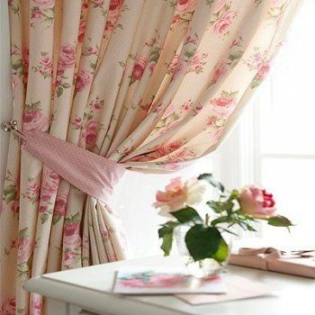 beautiful floral fabric curtains. | abby's room | pinterest
