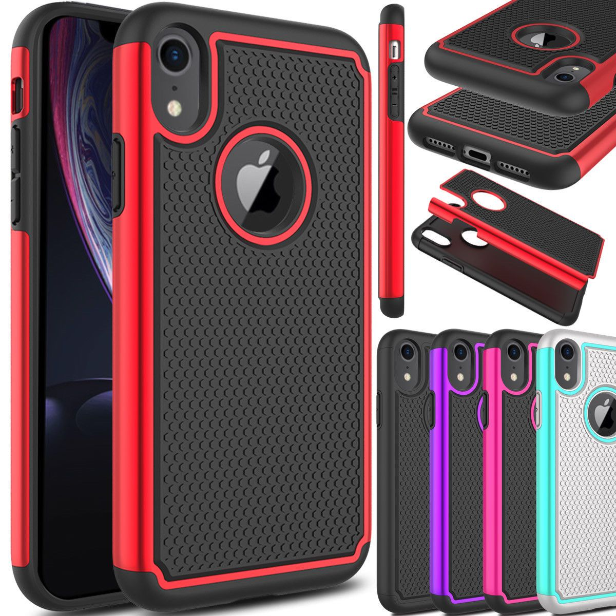 For apple iphone xr shockproof hybrid tpu rugged slim back