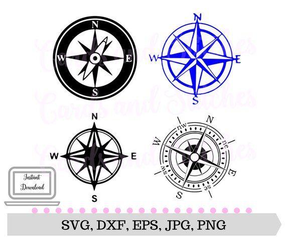 Compass SVG - Compass Design - Digital Cutting File - Silhouette SVG
