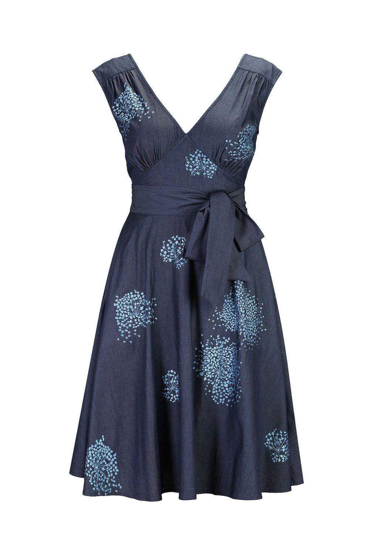 366e2229541 eShakti Women s Pin-up denim embellished dress at Amazon Women s Clothing  store