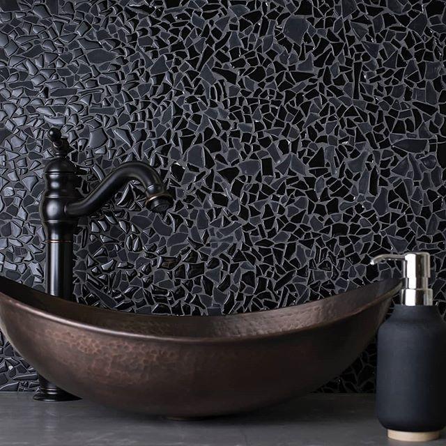 Diamond Black Glass Pebble Mosaic Tile Pebble Mosaic Tile Black Mosaic Tile Mosaic Bathroom Tile
