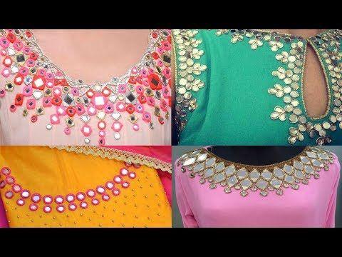 e5237eb23cb0c5 DIY Aari Maggam / Hand Embroidery || Pearl Zari Design| Very Simple Stylish  Neck design - YouTube. Mirror Work ...