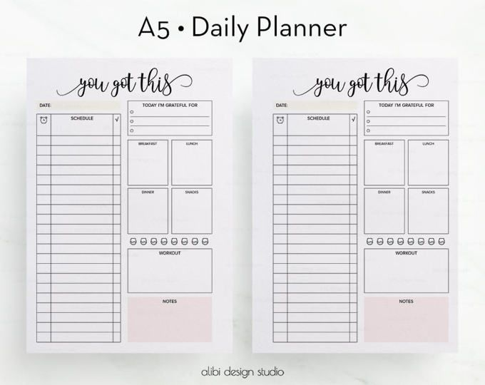 Daily Planner Printable, Daily to do list, Planner insert, Daily ...