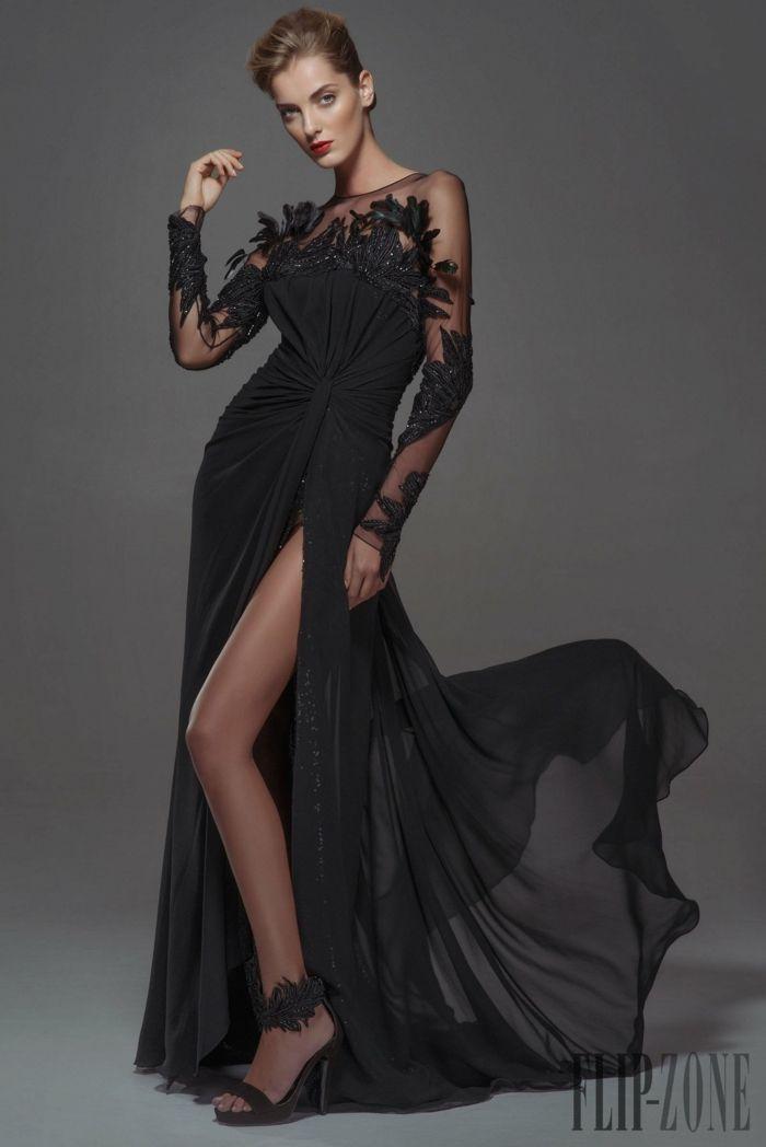Schwarzes abendkleid lang mit schlitz