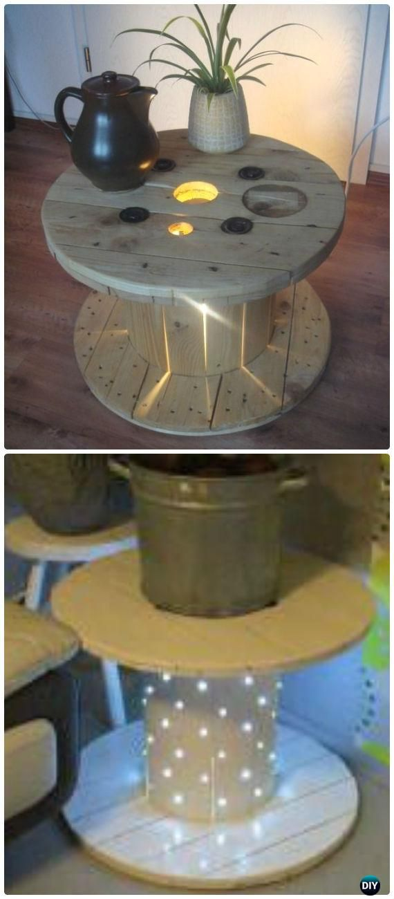 DIY Recycled Wood Cable Spool Furniture Ideas, Projects & Instructions #cablespooltables