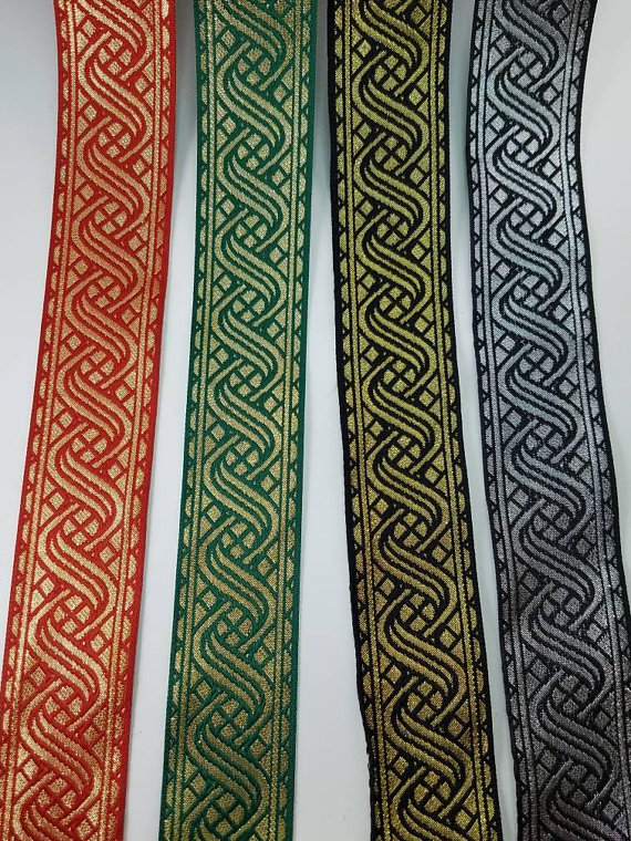 Medieval Folk Fabric woven trim Green//Black 5//8 inch wide by the yard