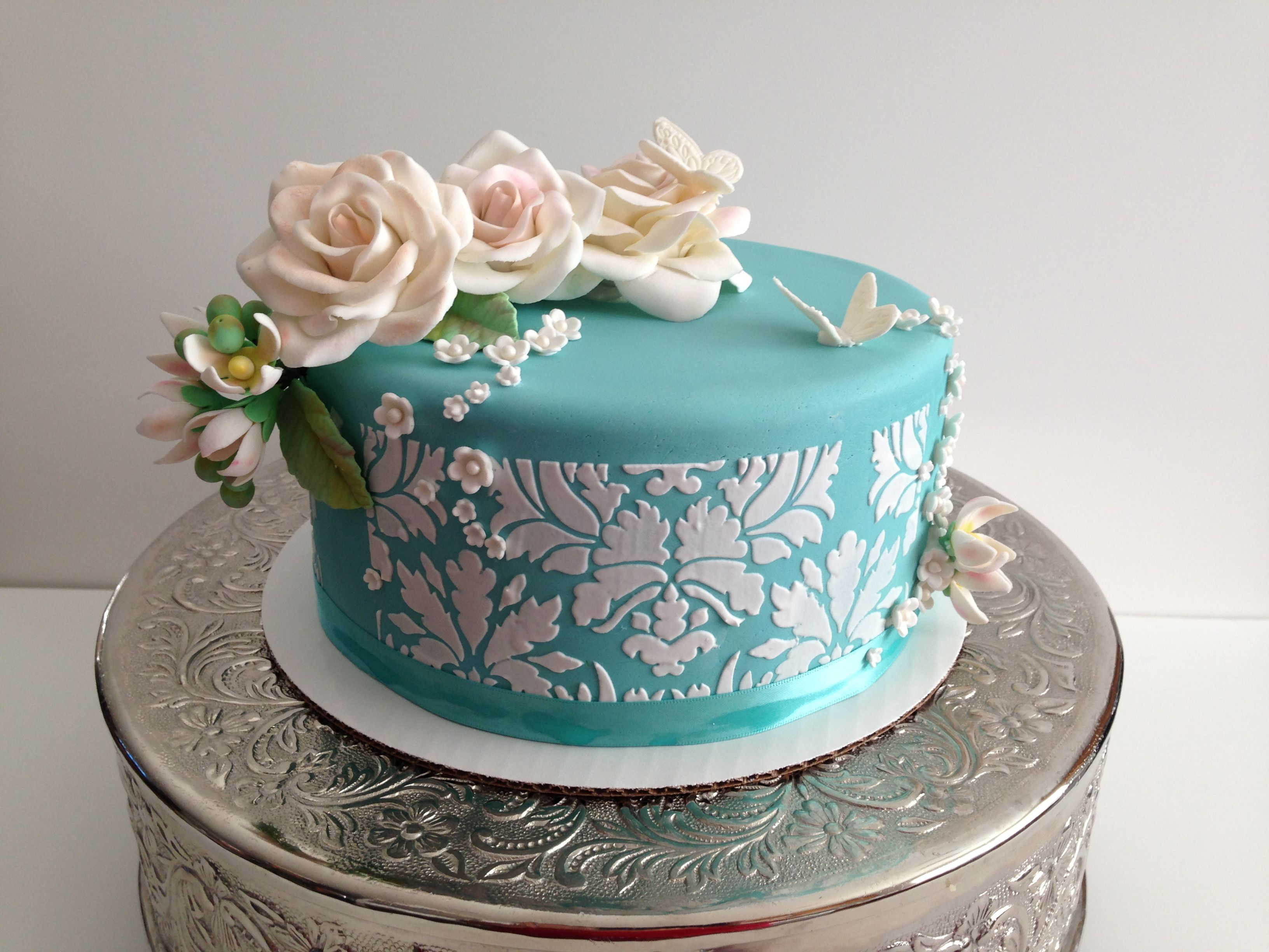Single Tier Wedding Cake Tiffany Blue Damask Stencil With