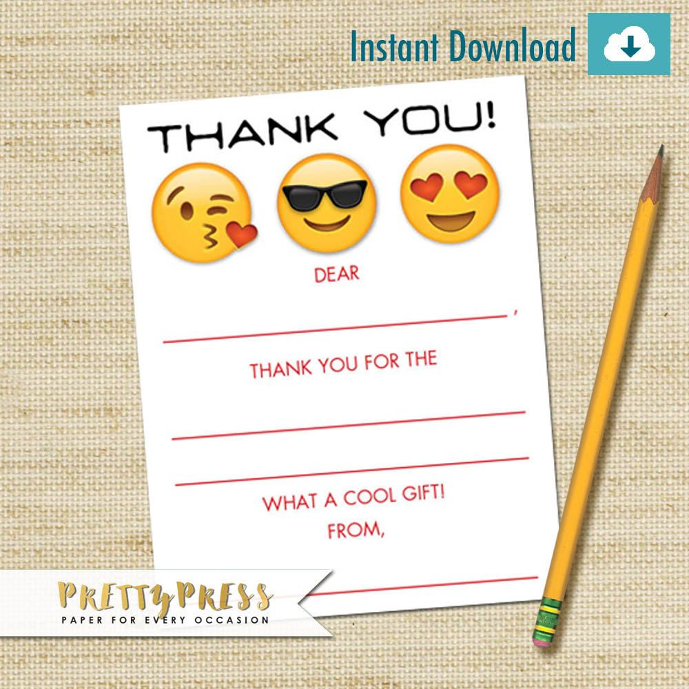 Emoji Thank You Cards Instant Download Kids Fill In Card DIY PRINTABLE Childrens Birthday By Prettypress On Etsy