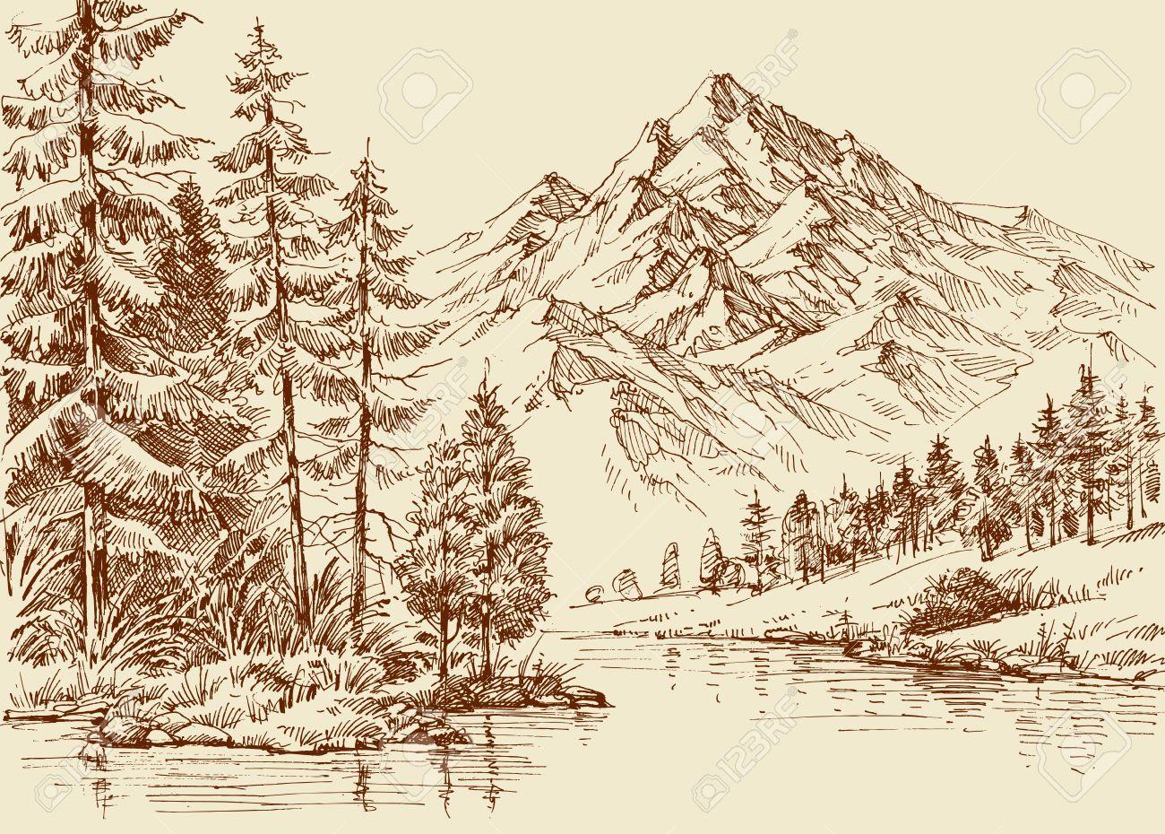 Alpine Landscape River And Pine Forest Sketch Forest Sketch Landscape Drawings Landscape Sketch
