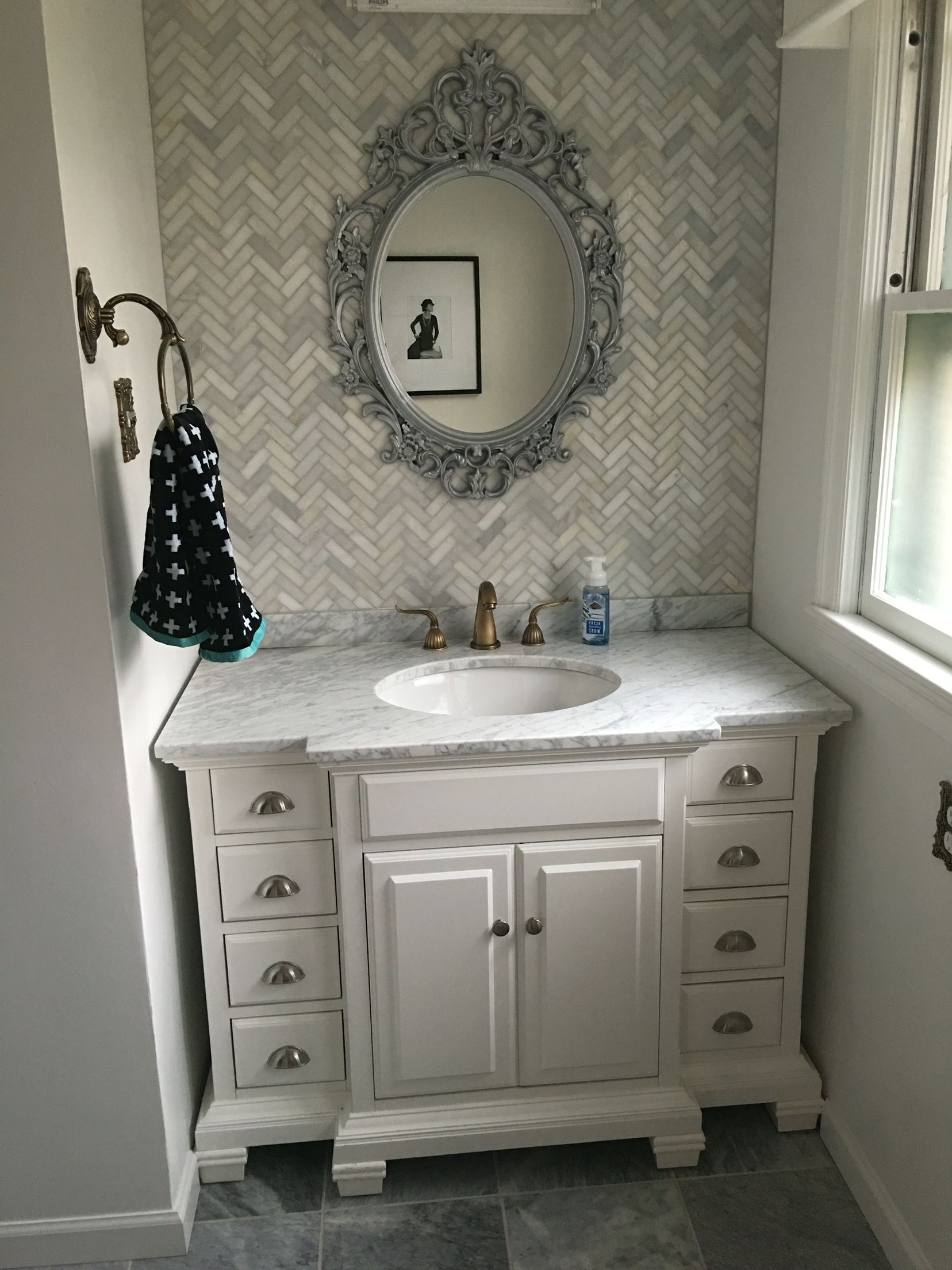 Allen roth vanity chevron mosaic back splash with gray