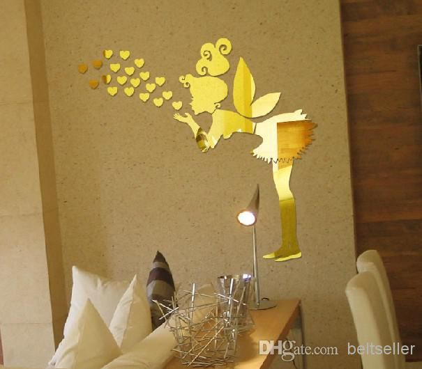 Free delivery 3D mirror wall stickers angel Lover heart wall ...
