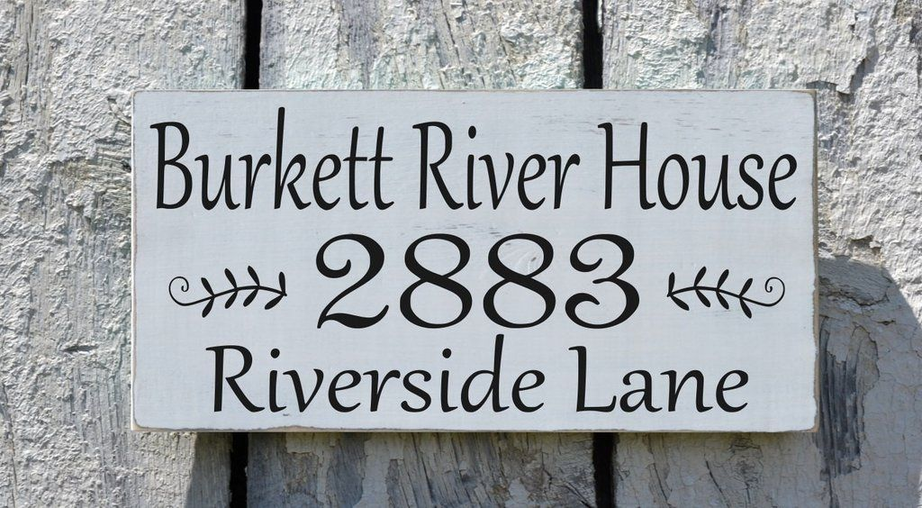 River House Decor Personalized River Sign Custom Street Address ...