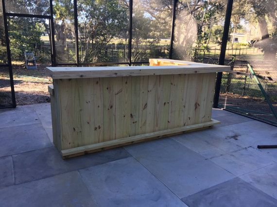 The Kitchen 10 X 6 2 Level L Shaped Rustic Wood Handmade Outdoor Patio Bar Outdoor Patio Bar Patio Bar Metal Kitchen