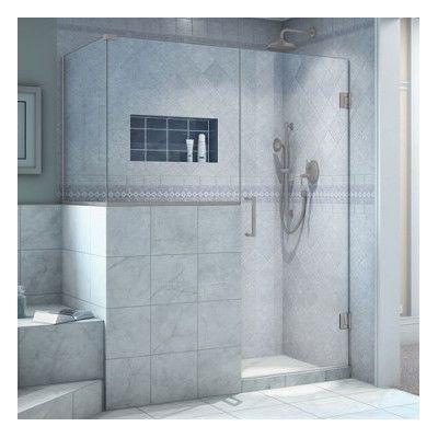 "DreamLine Unidoor Plus 47"" x 36.38"" x 72"" Rectangle Hinged Shower Enclosure Finish: Brushed Nickel"