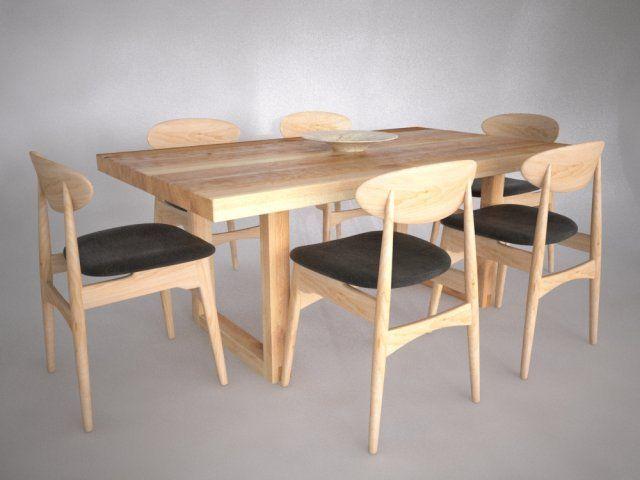 Astrid Dining Set 3D Model max c4d obj 3ds fbx lwo stl