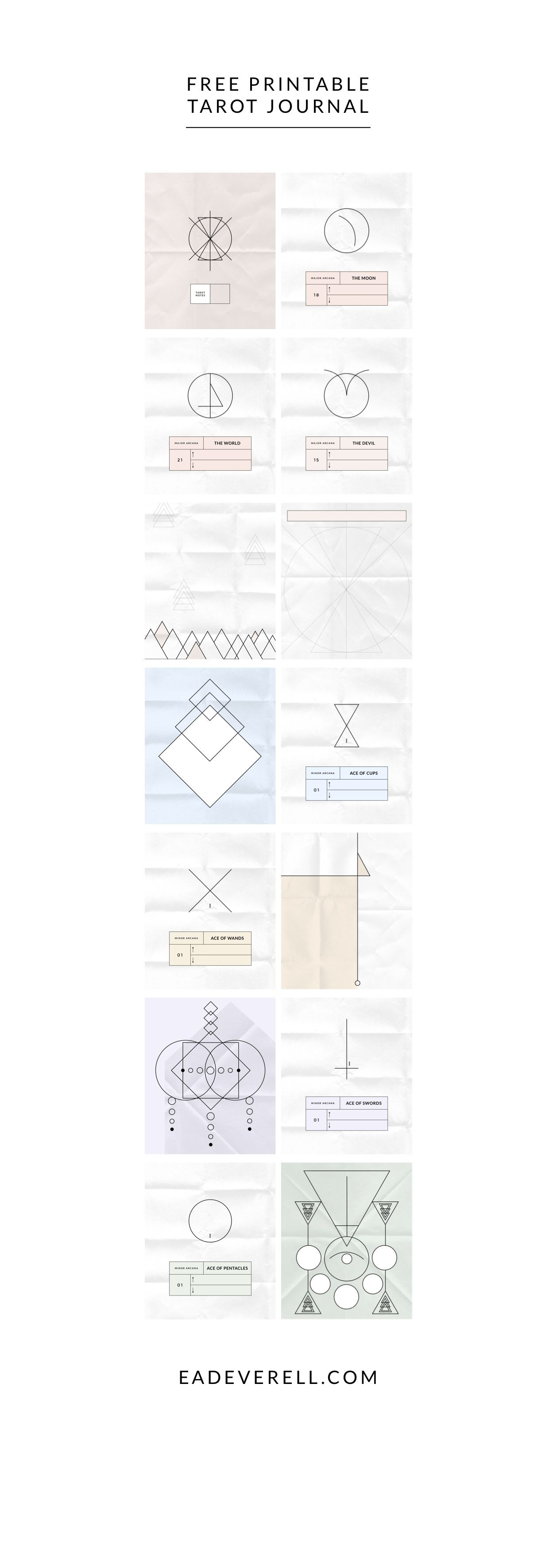 Modern Tarot Journal - free printable journal to help you explore the meanings of the major and minor arcana cards