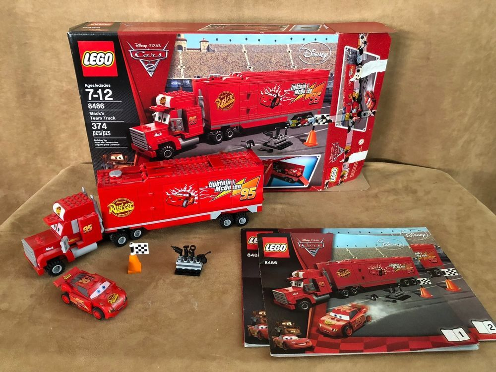 8486 Lego Complete Disney Pixar Cars Mack S Team Truck Lightning Mcqueen Box Lego Disney Pixar Cars Lego Disney Lego