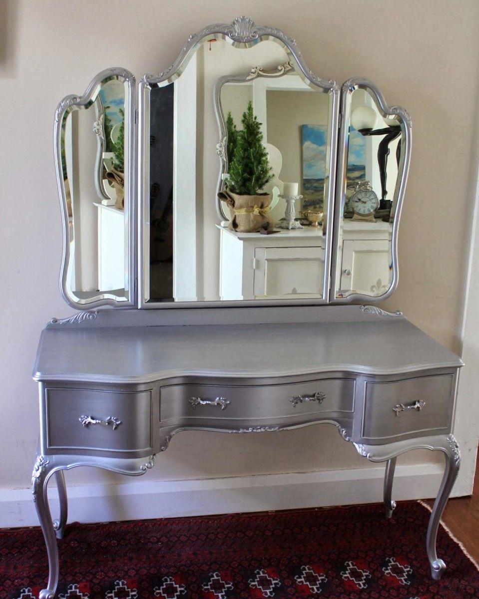 Cool Chrome Grey Makeup Vanity Table Makeup Vanity Set From IKEA Makeup  Desk