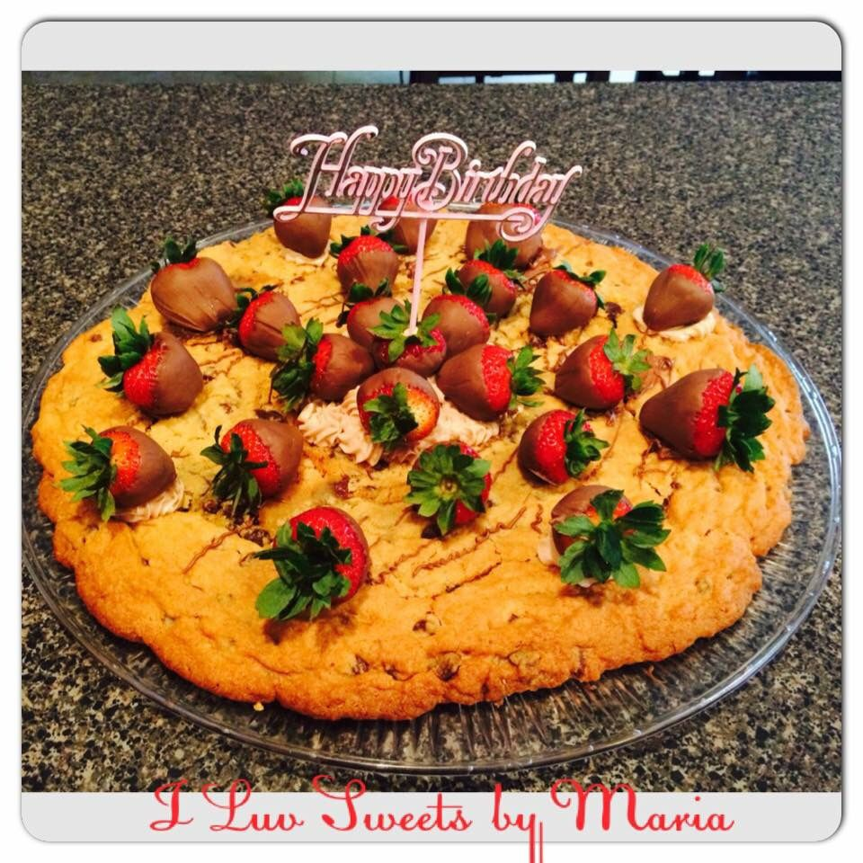 Chocolate chip cookie with chocolate covered strawberries!