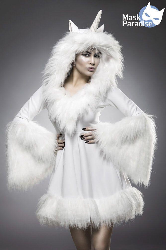 MASK PARADISE - Kostüm  Glamour Unicorn , Weißes Einhorn - Komplettset