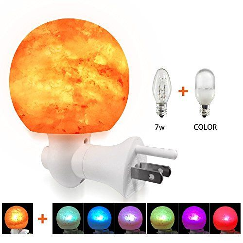 Yuuve Natural Himalayan Salt Lamps Crystal Rock Lamp Nursery Night Lights Wall Plug In Nightlight With Incandescent Bulb And Multi Led Color Changing Bulb For A With Images Rock Lamp Color